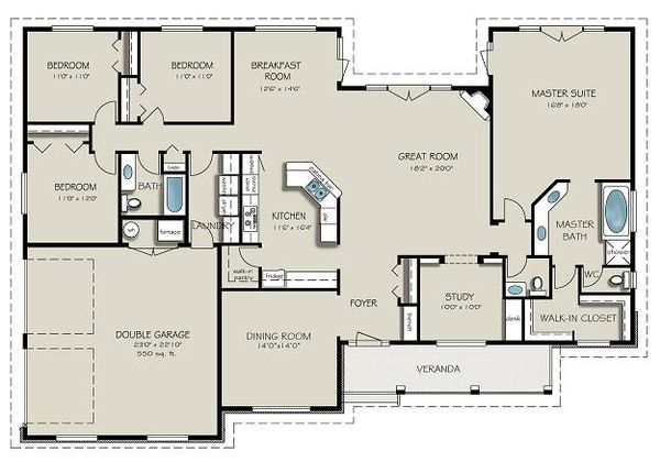 Country Floor Plan - Main Floor Plan #427-8