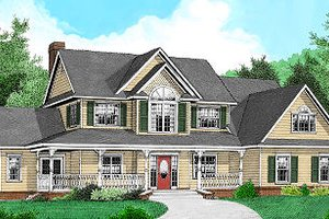 Architectural House Design - Country Exterior - Front Elevation Plan #11-222