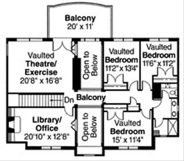 Mediterranean Floor Plan - Upper Floor Plan Plan #124-711