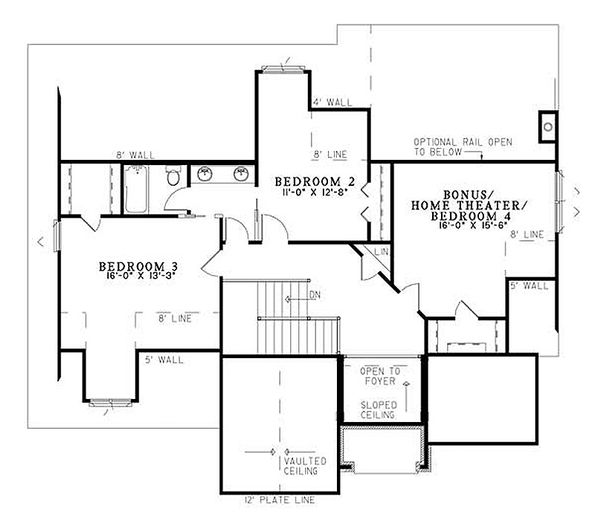 European Floor Plan - Upper Floor Plan Plan #17-204