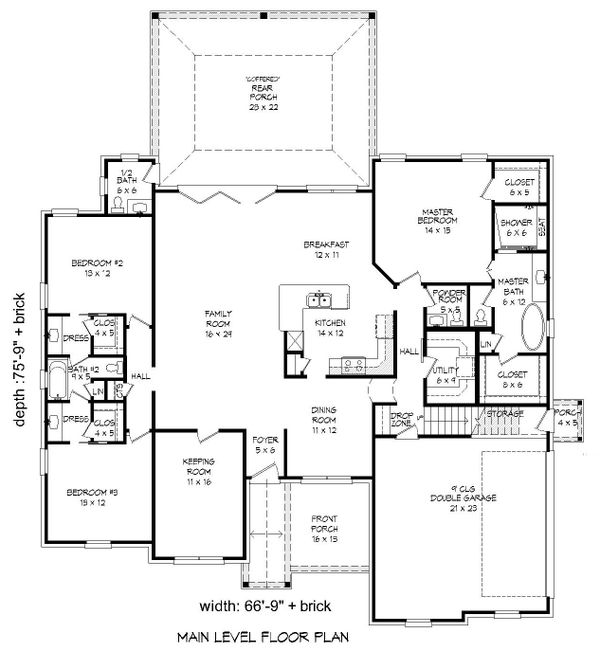 Craftsman Floor Plan - Main Floor Plan Plan #932-280