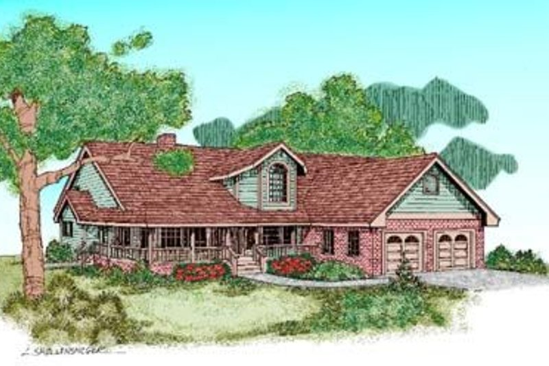 Traditional Style House Plan - 5 Beds 4 Baths 2970 Sq/Ft Plan #60-236 Exterior - Front Elevation