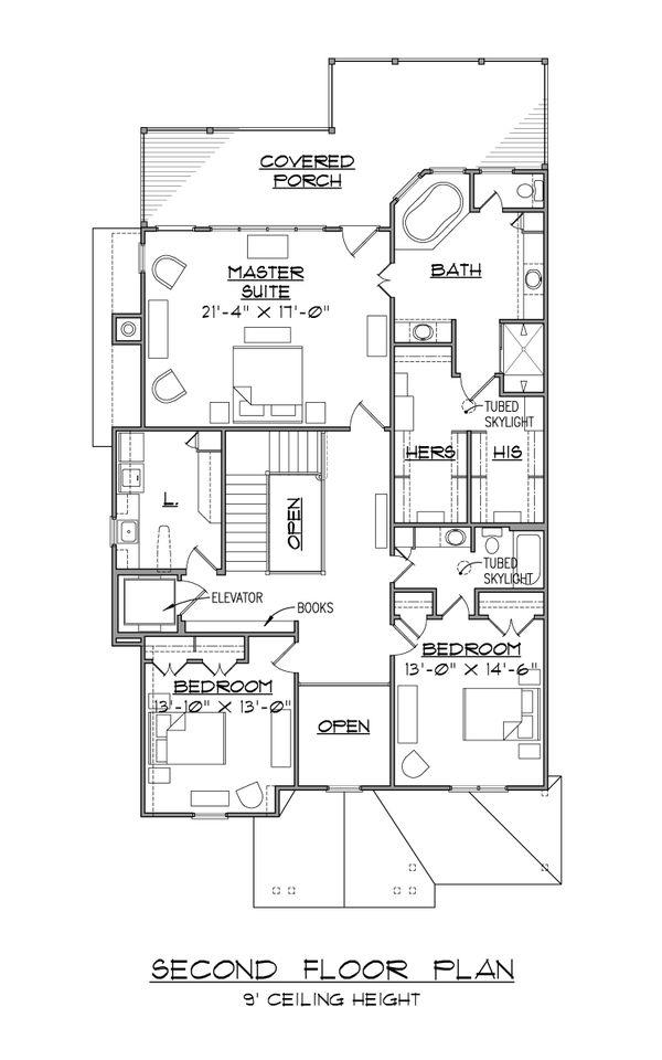 Architectural House Design - European Floor Plan - Upper Floor Plan #1054-42