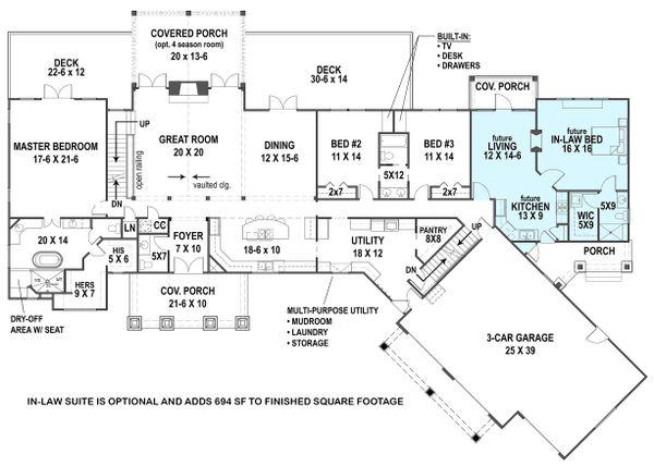 Dream House Plan - Ranch Floor Plan - Main Floor Plan #119-430