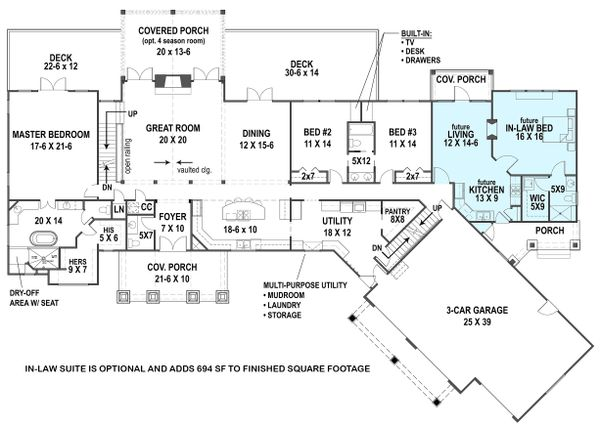 Architectural House Design - Ranch Floor Plan - Main Floor Plan #119-430