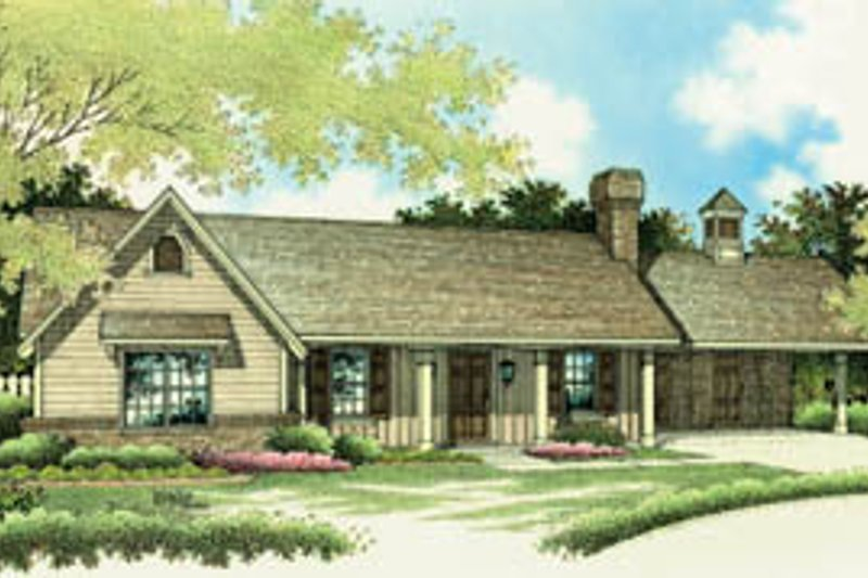 Ranch Style House Plan - 3 Beds 2 Baths 1375 Sq/Ft Plan #45-107 Exterior - Front Elevation
