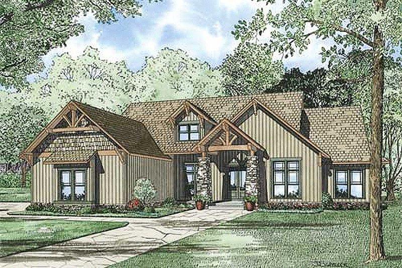 Architectural House Design - Craftsman Exterior - Front Elevation Plan #17-2374