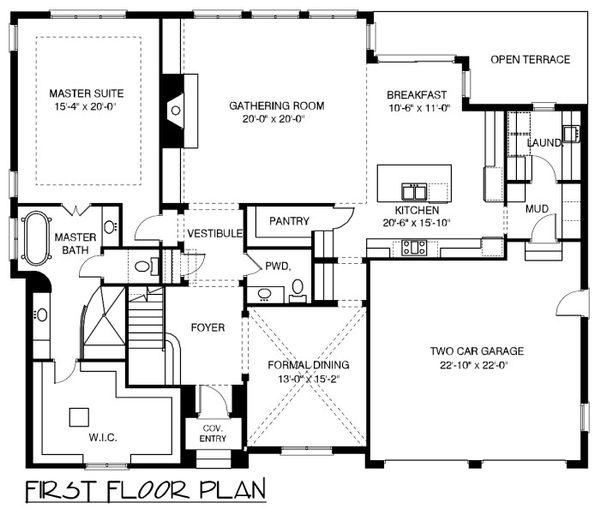European Floor Plan - Main Floor Plan Plan #413-892