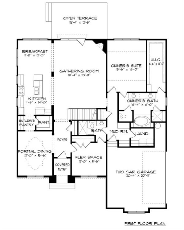 Tudor Floor Plan - Main Floor Plan Plan #413-887