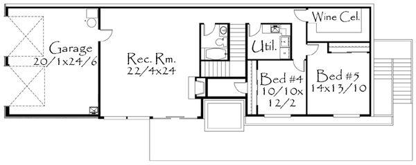 Modern Style House Plan - 5 Beds 3.5 Baths 3113 Sq/Ft Plan #509-2 Floor Plan - Lower Floor Plan