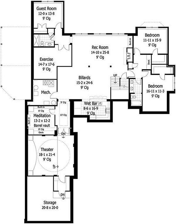 Craftsman Style House Plan - 4 Beds 3.5 Baths 5832 Sq/Ft Plan #51-414 Floor Plan - Lower Floor Plan