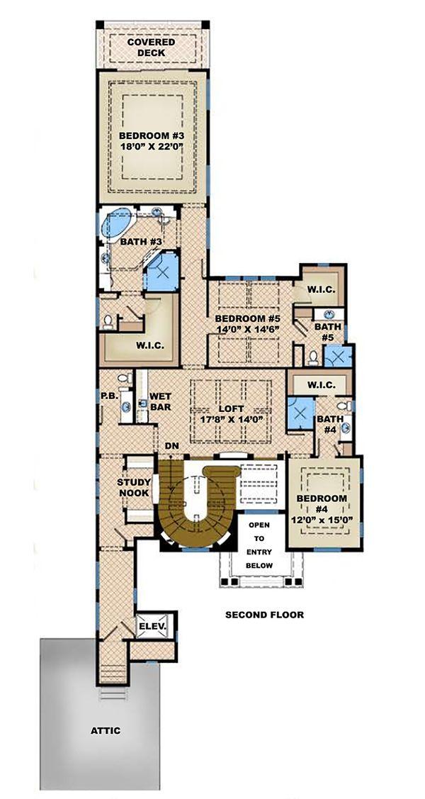 Mediterranean Floor Plan - Upper Floor Plan Plan #27-537