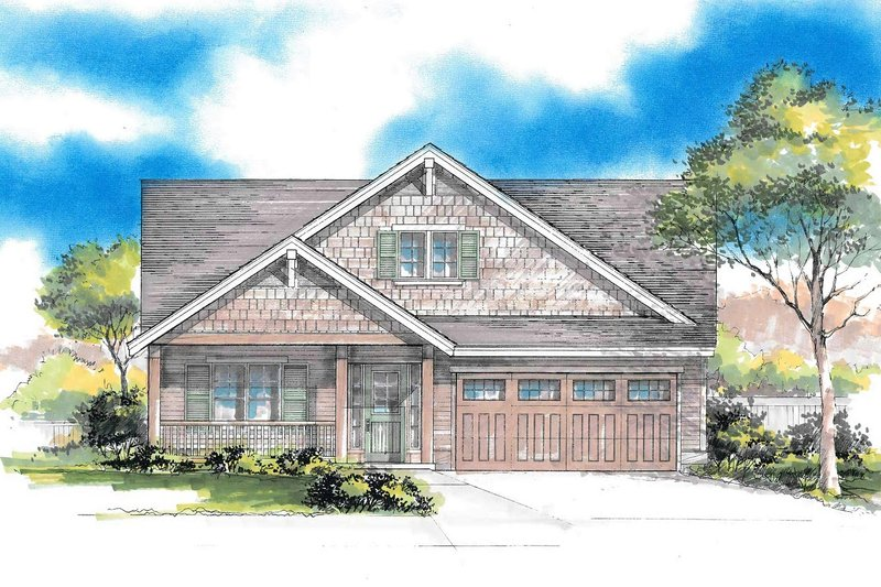 Craftsman Style House Plan - 3 Beds 2 Baths 1603 Sq/Ft Plan #53-549 Exterior - Front Elevation