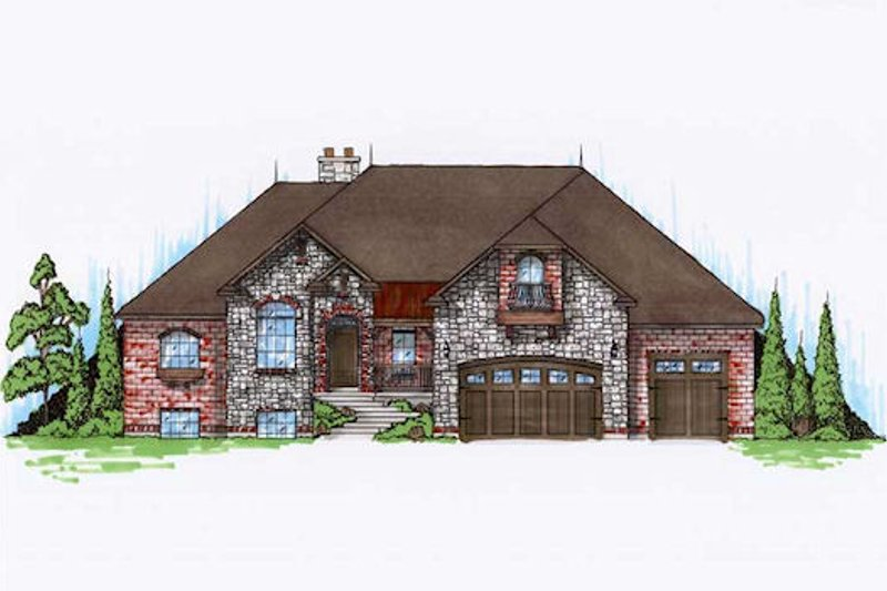 European Exterior - Front Elevation Plan #5-388