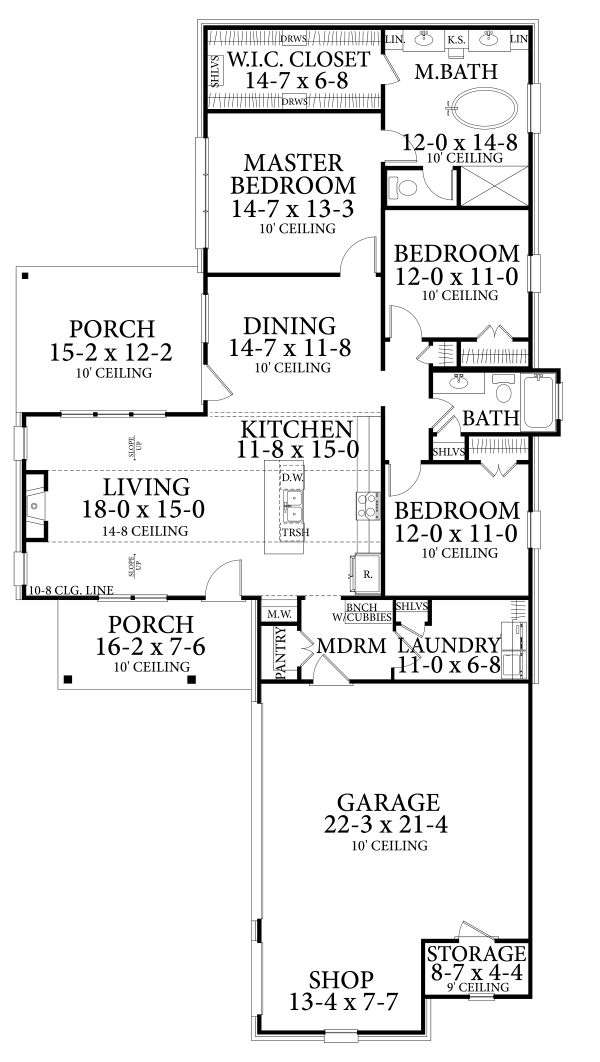 Cottage Floor Plan - Main Floor Plan Plan #406-9657