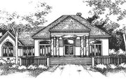 Mediterranean Style House Plan - 4 Beds 2 Baths 2074 Sq/Ft Plan #320-418 Exterior - Front Elevation
