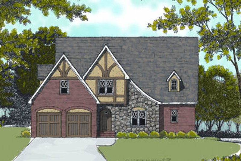 European Exterior - Front Elevation Plan #413-808