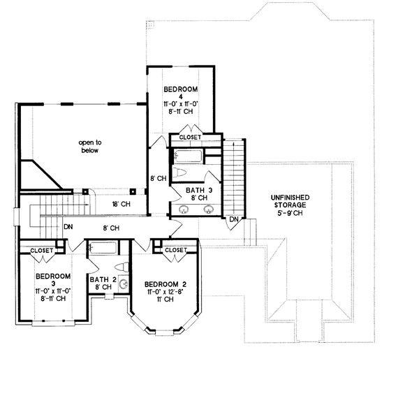Home Plan - European Floor Plan - Upper Floor Plan #20-1580