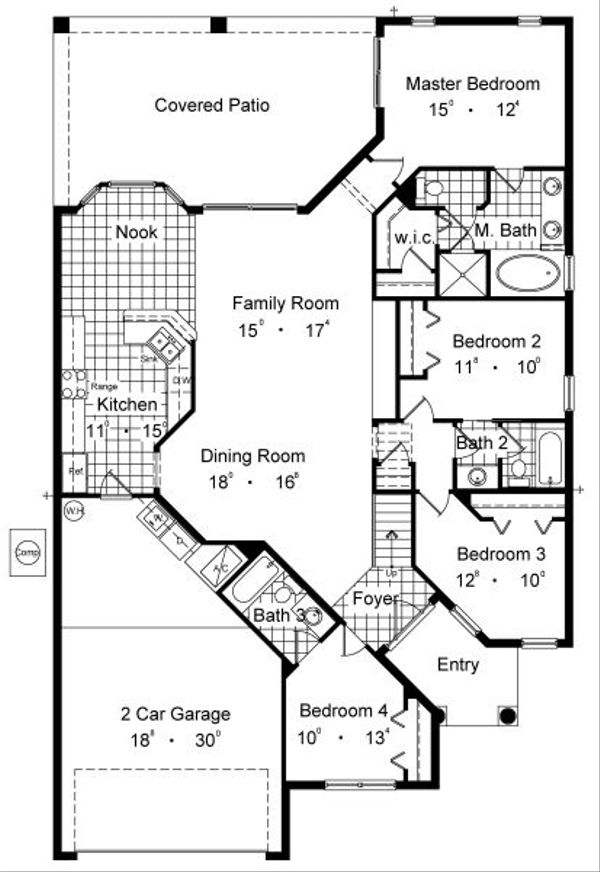 European Floor Plan - Main Floor Plan Plan #417-211