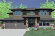 Prairie Style House Plan - 5 Beds 3.5 Baths 4093 Sq/Ft Plan #509-18 Exterior - Front Elevation