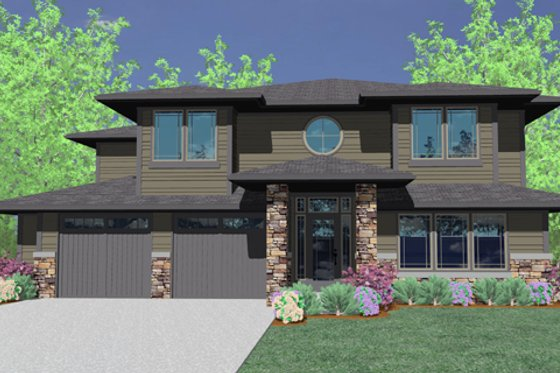 Prairie Exterior - Front Elevation Plan #509-18