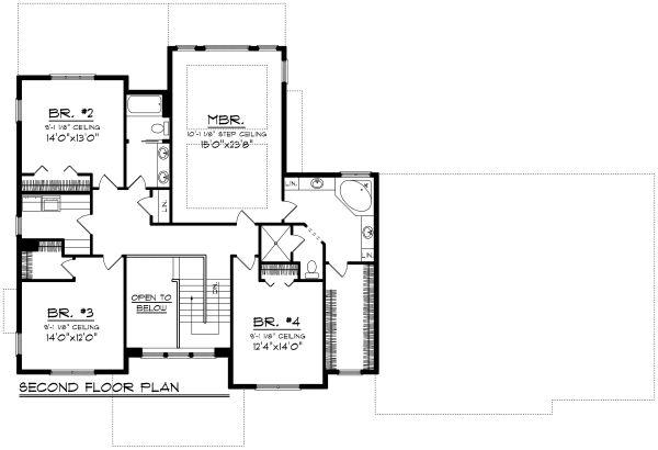 Craftsman Floor Plan - Upper Floor Plan Plan #70-1185