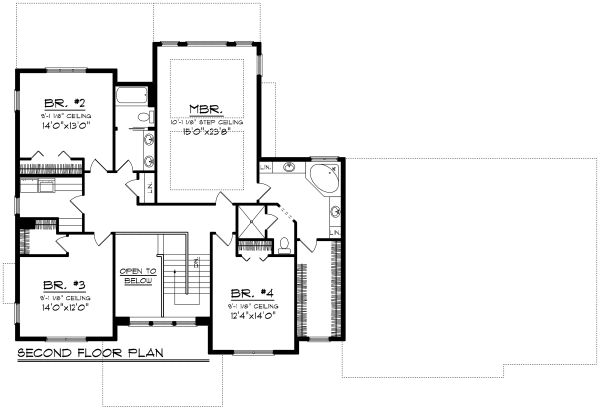 Craftsman Floor Plan - Upper Floor Plan Plan #70-1185