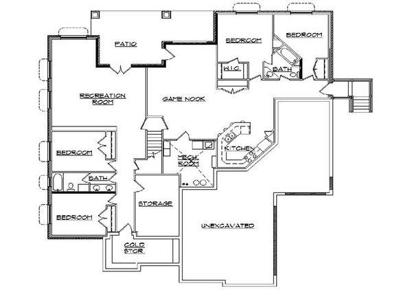 Traditional Floor Plan - Lower Floor Plan Plan #5-458