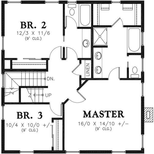 Traditional Floor Plan - Upper Floor Plan Plan #48-966