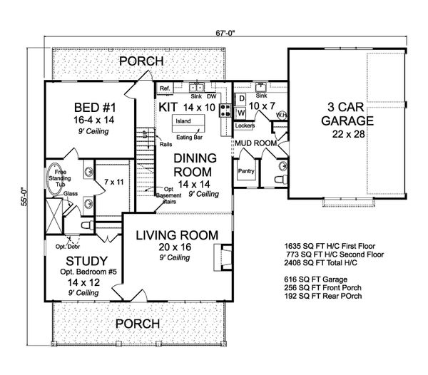 Farmhouse Floor Plan - Main Floor Plan Plan #513-2186