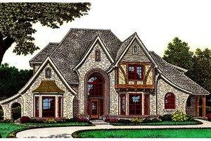 Architectural House Design - Tudor Exterior - Front Elevation Plan #310-653