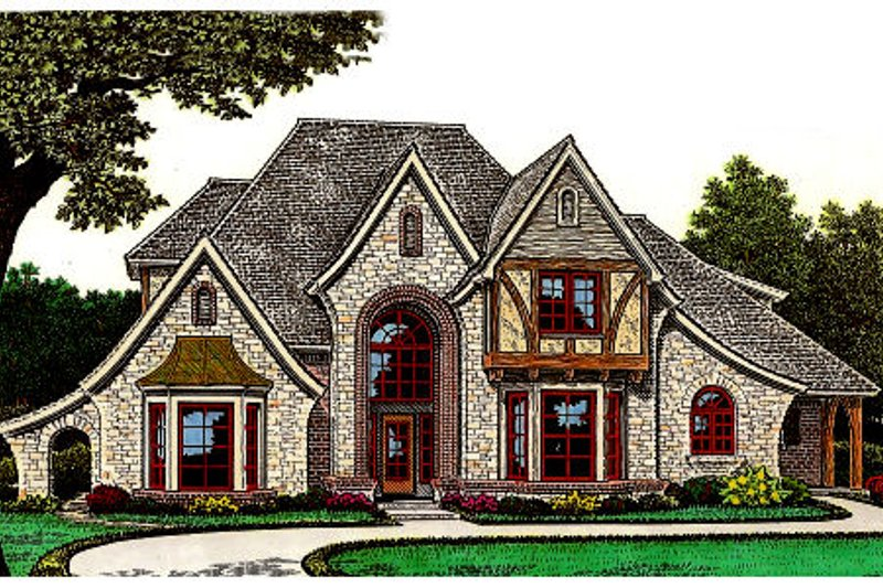 Tudor Style House Plan - 4 Beds 3.5 Baths 2953 Sq/Ft Plan #310-653 Exterior - Front Elevation