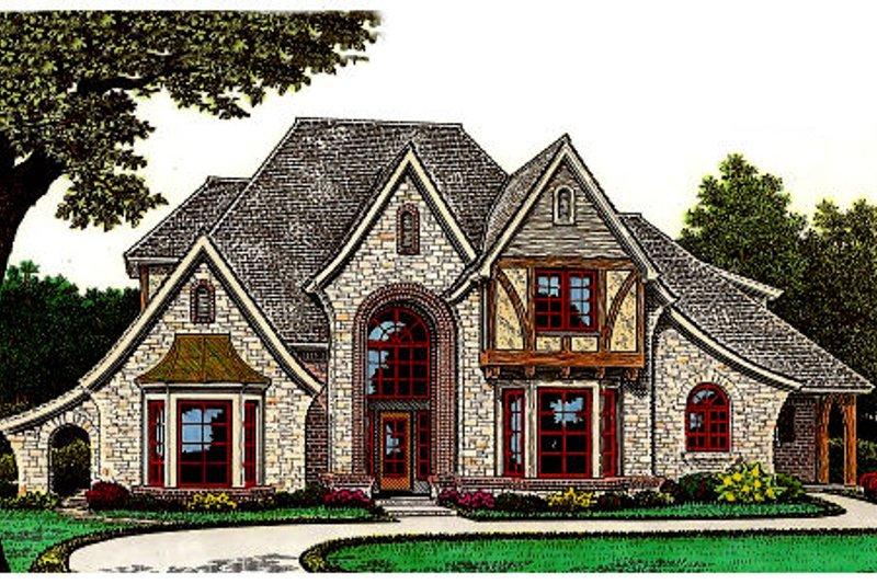 Dream House Plan - Tudor Exterior - Front Elevation Plan #310-653