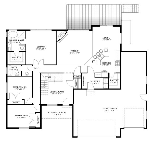 Traditional Floor Plan - Main Floor Plan Plan #1060-45