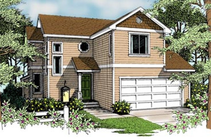Craftsman Style House Plan - 3 Beds 2.5 Baths 1278 Sq/Ft Plan #96-206 Exterior - Front Elevation