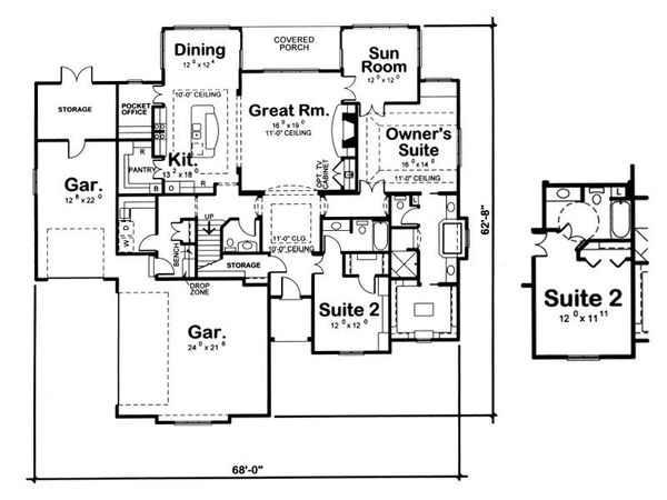 European Floor Plan - Main Floor Plan Plan #20-2070