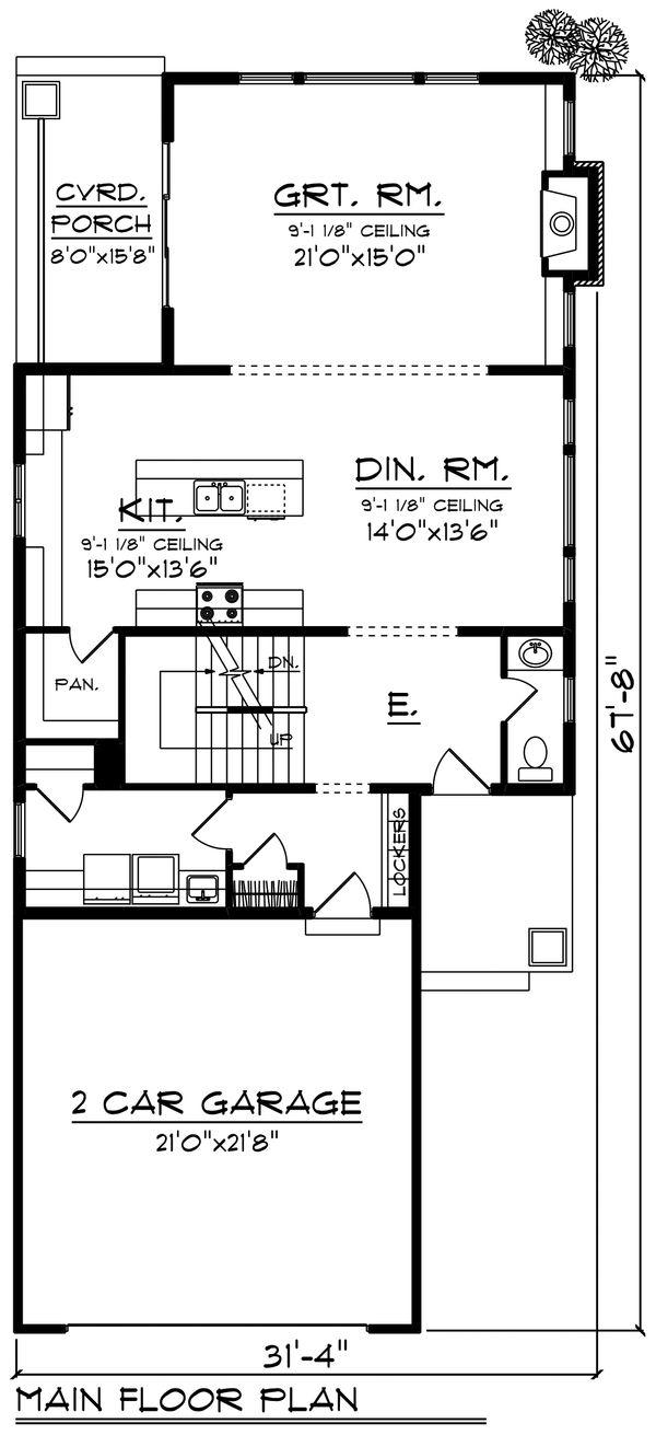Craftsman Floor Plan - Main Floor Plan Plan #70-1221
