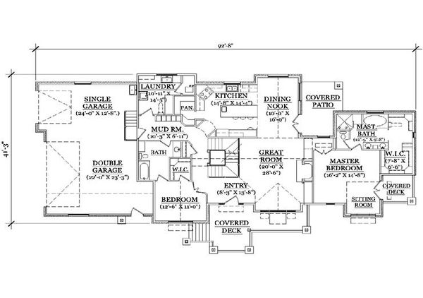 Craftsman Floor Plan - Main Floor Plan Plan #5-371