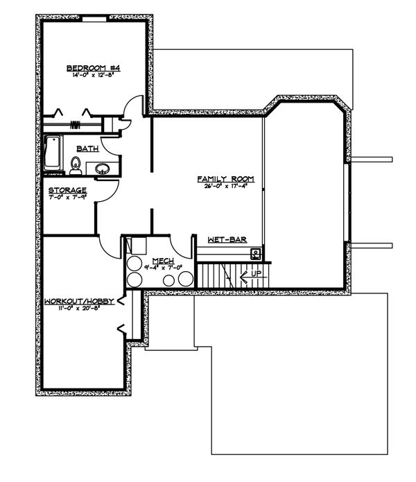 Craftsman Floor Plan - Lower Floor Plan #1064-61