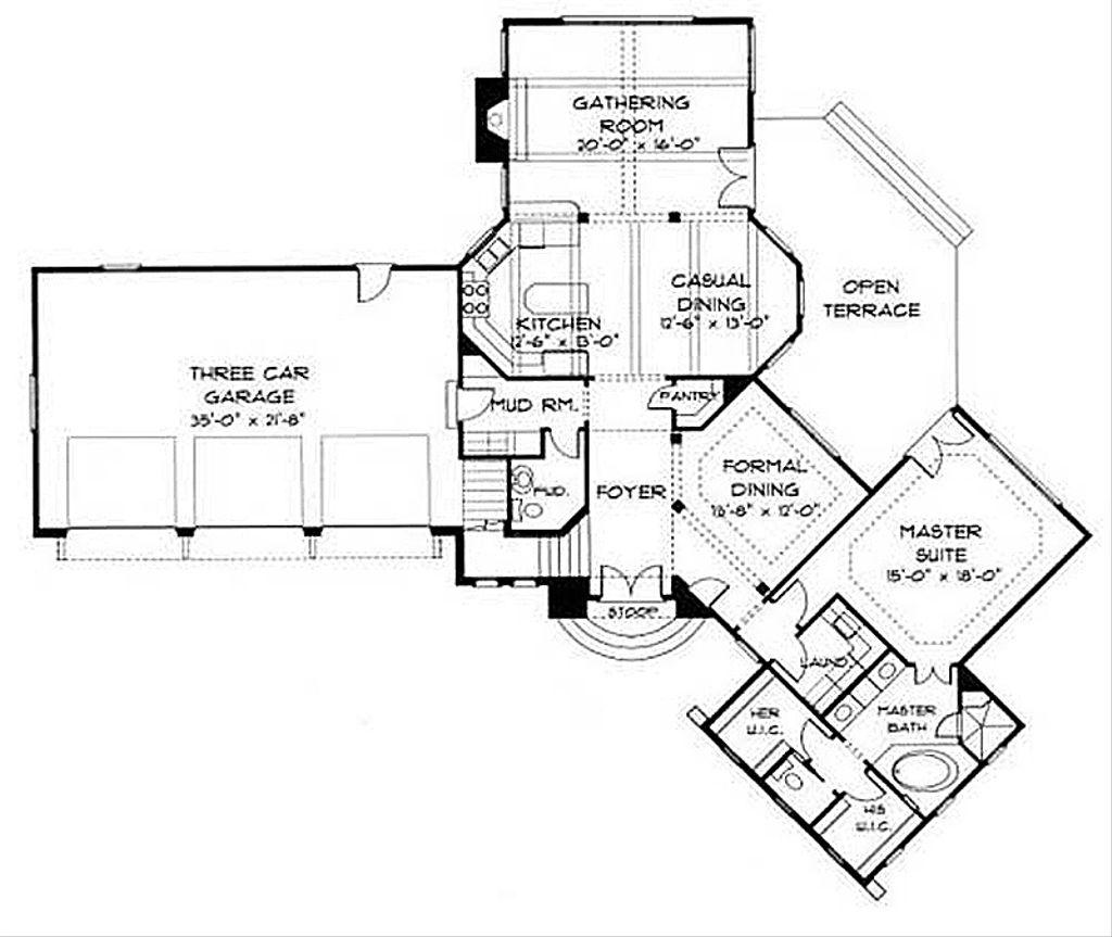 European style house plan 4 beds 3 baths 3091 sq ft plan for 100 floors floor 41