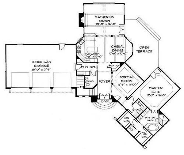 European Floor Plan - Main Floor Plan Plan #413-100