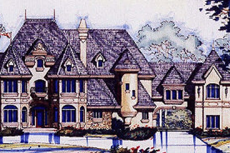 European Style House Plan - 5 Beds 5.5 Baths 6462 Sq/Ft Plan #417-448 Exterior - Front Elevation