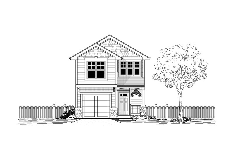 Craftsman Style House Plan - 3 Beds 2.5 Baths 1400 Sq/Ft Plan #53-493 Exterior - Front Elevation