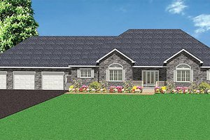 Southern Exterior - Front Elevation Plan #414-137