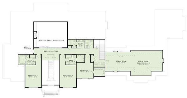 European Floor Plan - Upper Floor Plan Plan #17-2461