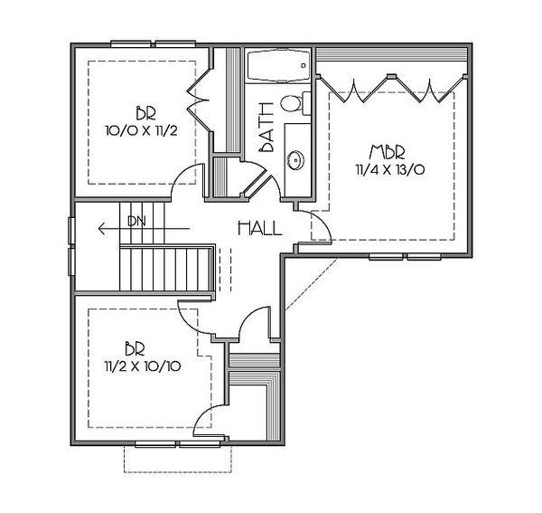 European Floor Plan - Upper Floor Plan Plan #423-42