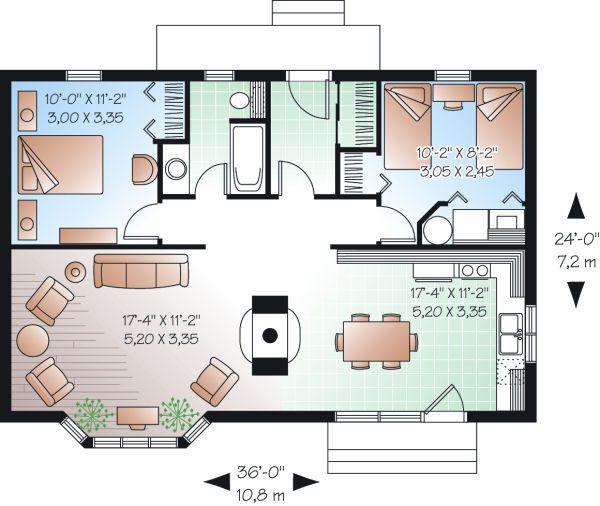 Dream House Plan - Cottage Floor Plan - Main Floor Plan #23-754