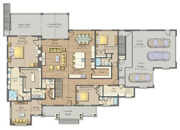 Dream House Plan - Craftsman Floor Plan - Main Floor Plan #1057-26