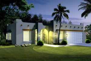 Adobe / Southwestern Exterior - Front Elevation Plan #1-302