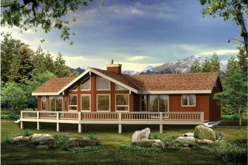 Cabin Style House Plan - 3 Beds 2 Baths 1230 Sq/Ft Plan #47-871